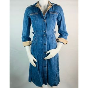 Vintage Denim Long Sleeve Button Down Dress